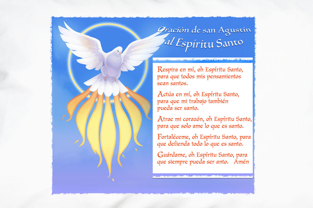 A closeup of Prayer Pillowcases Espíritu Santo: Oración de San Agustín pillow case