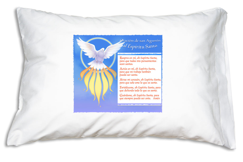 Espíritu Santo: Oración de San Agustín Prayer Pillowcase is a wonderful companion for any Catholic.