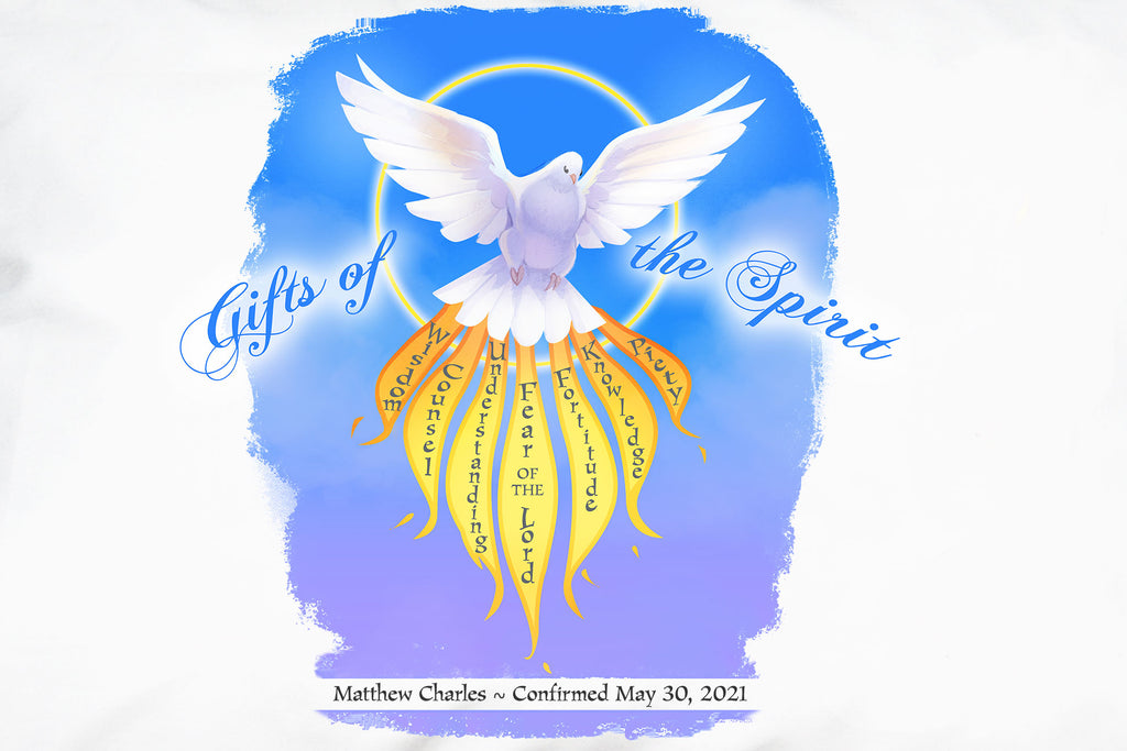 For Confirmation gifts personalize the Gifts of the Spirit Prayer Pillowcase with a name and date like this.