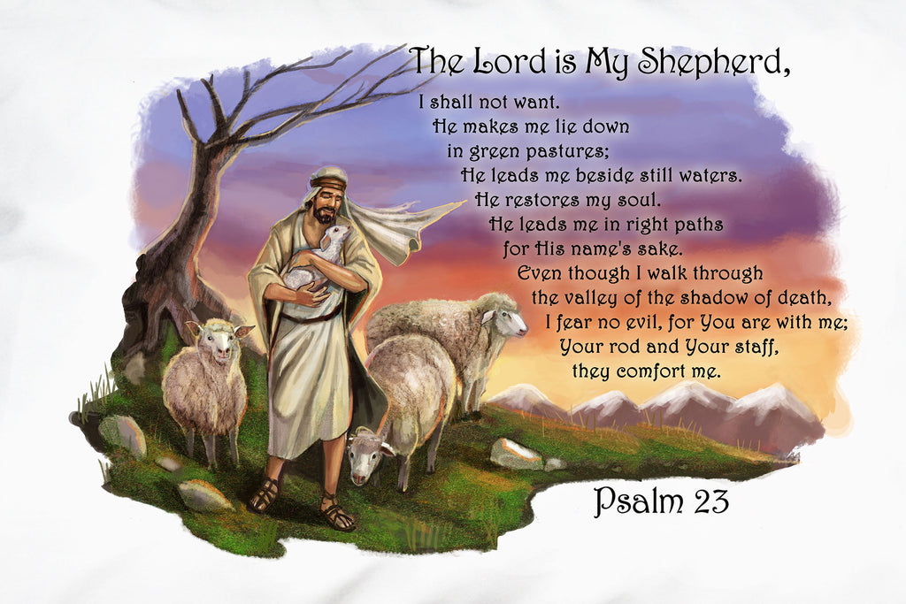 A closeup of Prayer Pillowcases beautiful illustration of Jesus as the Good Shepherd and comforting Psalm 23.