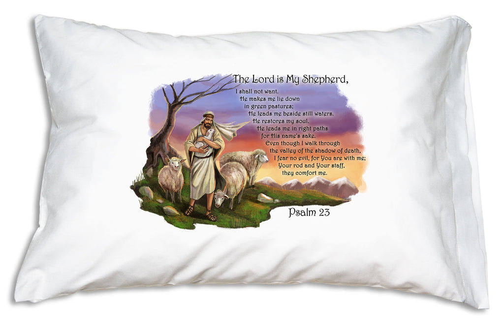 The Psalm 23 design from Prayer PIllowcases features a beautiful illustration of Jesus the Good Shepherd.