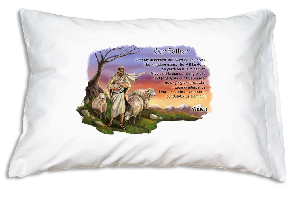 A heart-warming illustration of Jesus as the Good Shepherd fills this Prayer Pillowcase design.