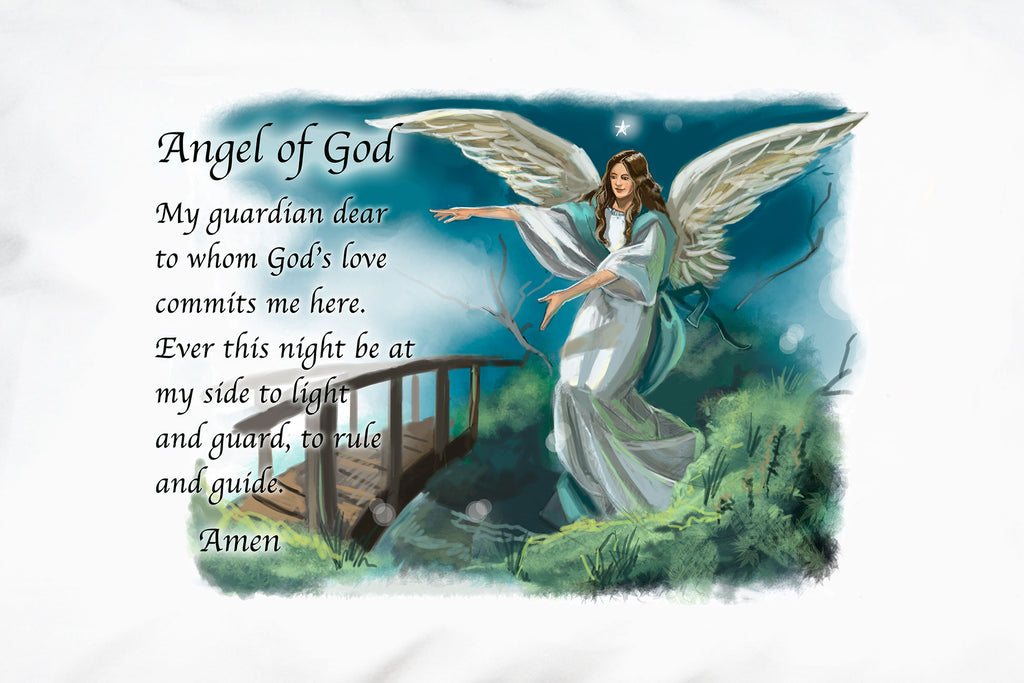 A closeup of the Guardian Angel design by Prayer Pillowcases.