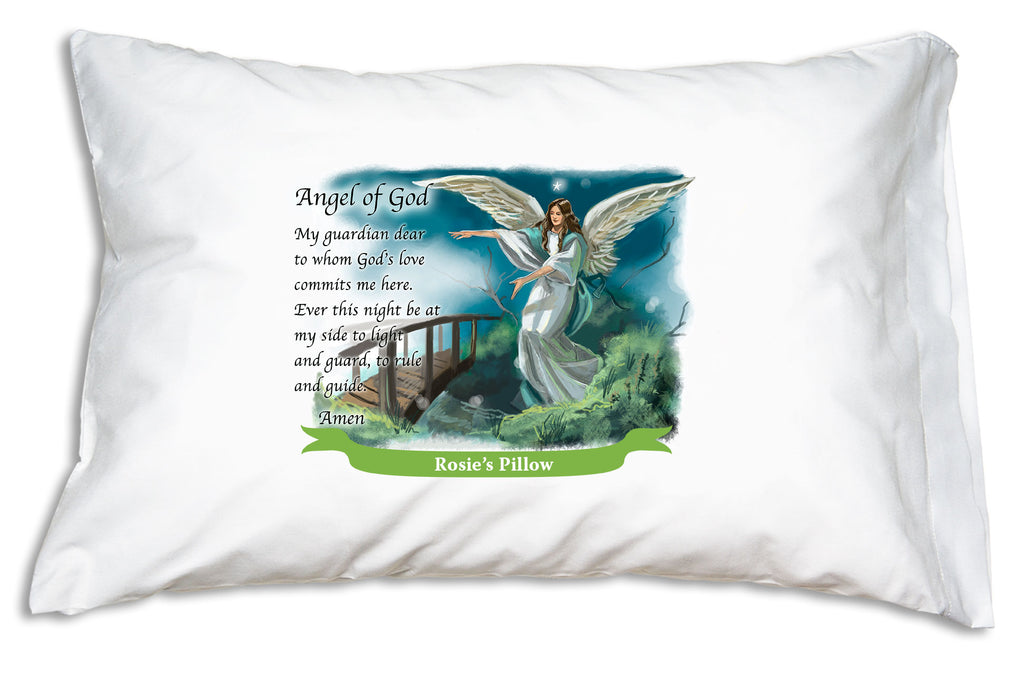 The name goes on a bright banner when you personalize the Guardian Angel pillow case from Prayer Pillowcases.