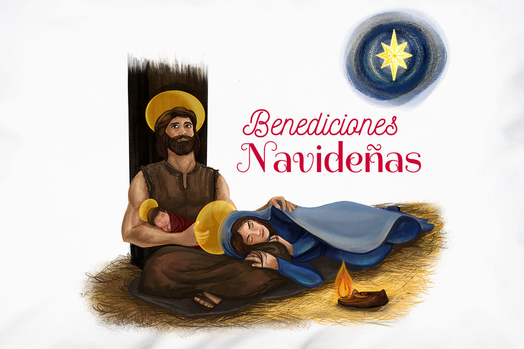 """Benediciones Navideñas"" adds the finishing touch to the beautiful portrait of la Sagrada Familia on this Christmas pillowcase."
