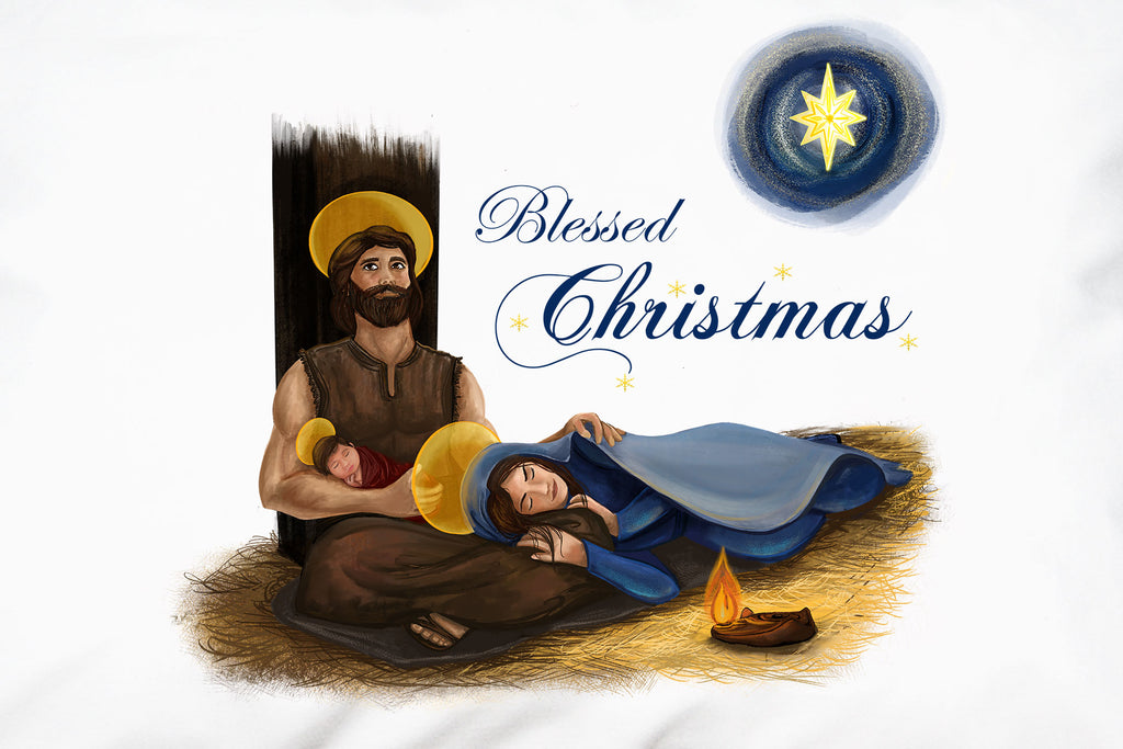 "Festive script proclaiming ""Blessed Christmas"" complements a beautiful portrait of the Holy Family on this Christmas Prayer Pillowcase."
