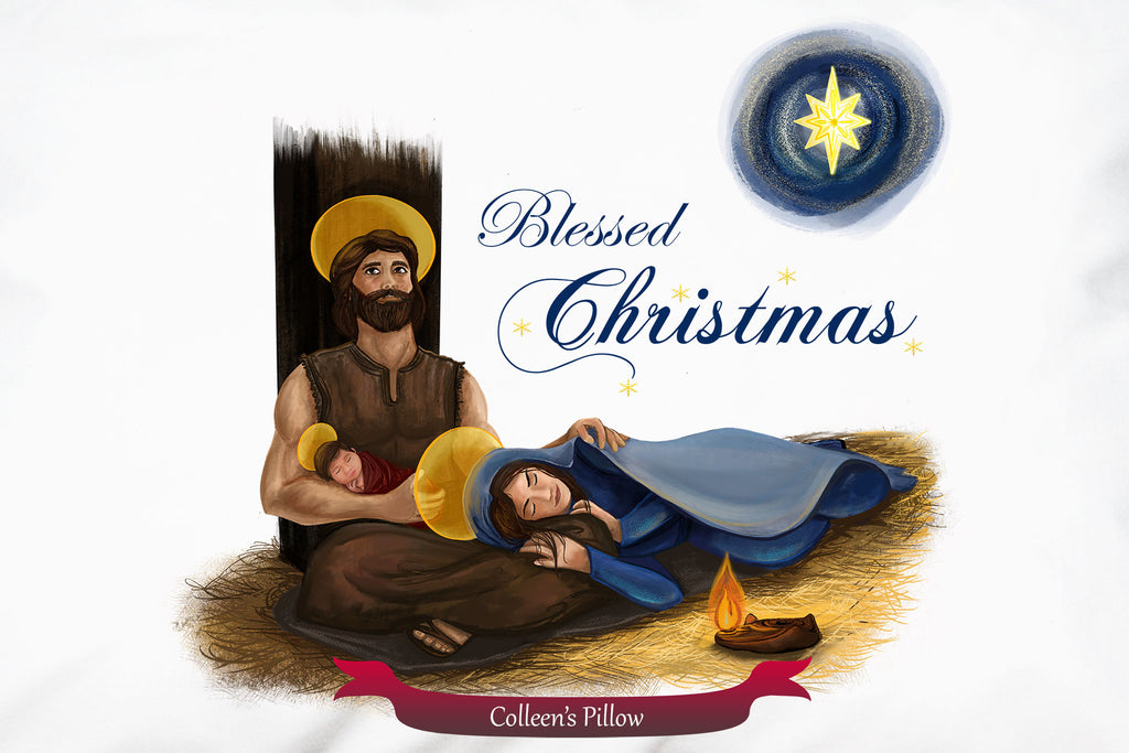 Personalize the Holy Family Blessed Christmas Pillowcase for a lasting gift of faith.