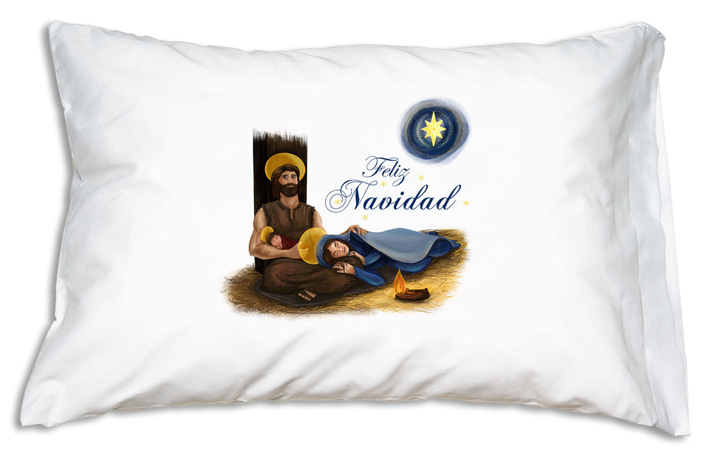 "Festive script proclaiming ""Feliz Navidad"" complements the beautiful portrait of the Holy Family on this Christmas Pillowcase."