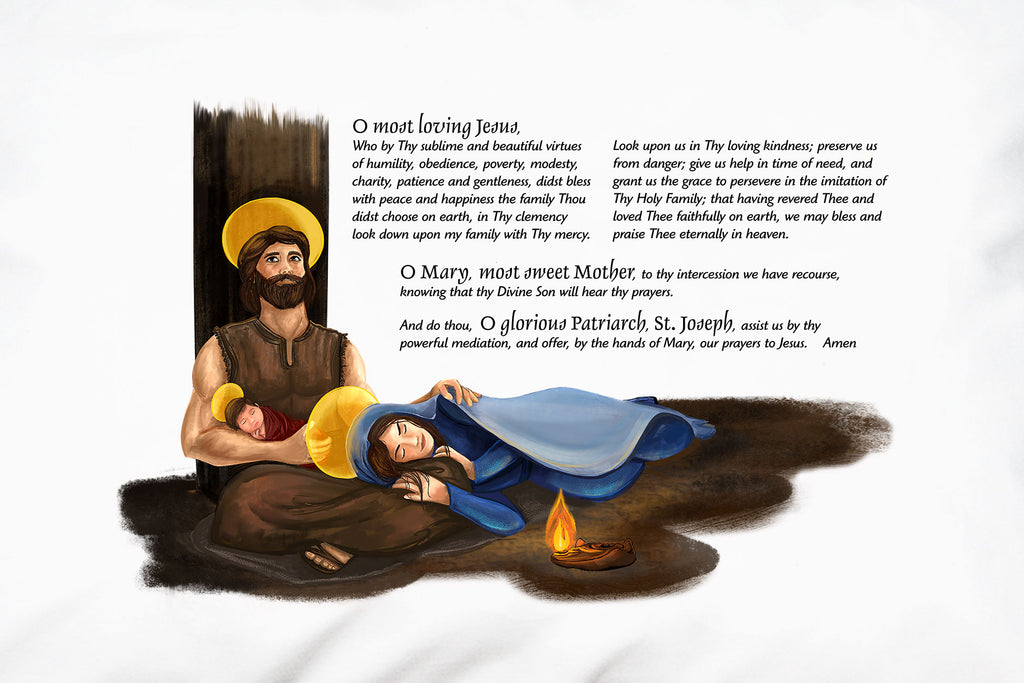 This Prayer PIllowcase features a prayer to the Holy Family for Grace. This beloved traditional prayer is a prayer of both praise and petition!