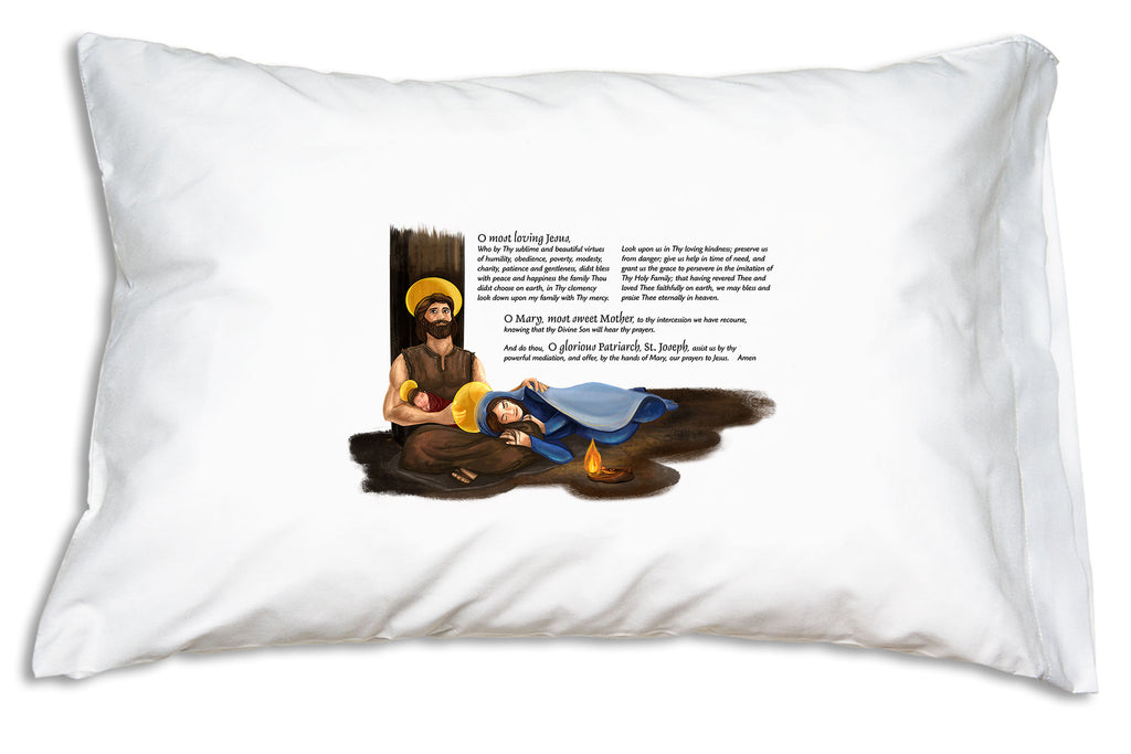 With the Holy Family: Prayer for Grace Prayer Pillowcase nearby you'll be moved to pray for the grace and peace of the Holy Family in your own family.