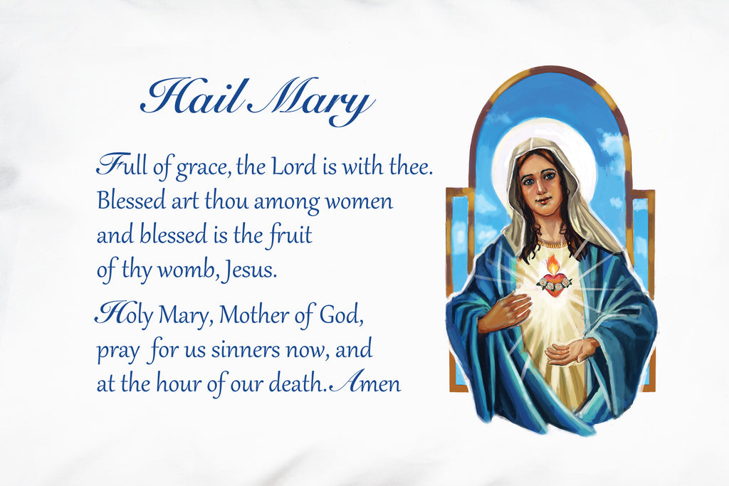 This shows the detail of our beautiful illustration on the Immaculate Heart Hail Mary Prayer PIllowcase.