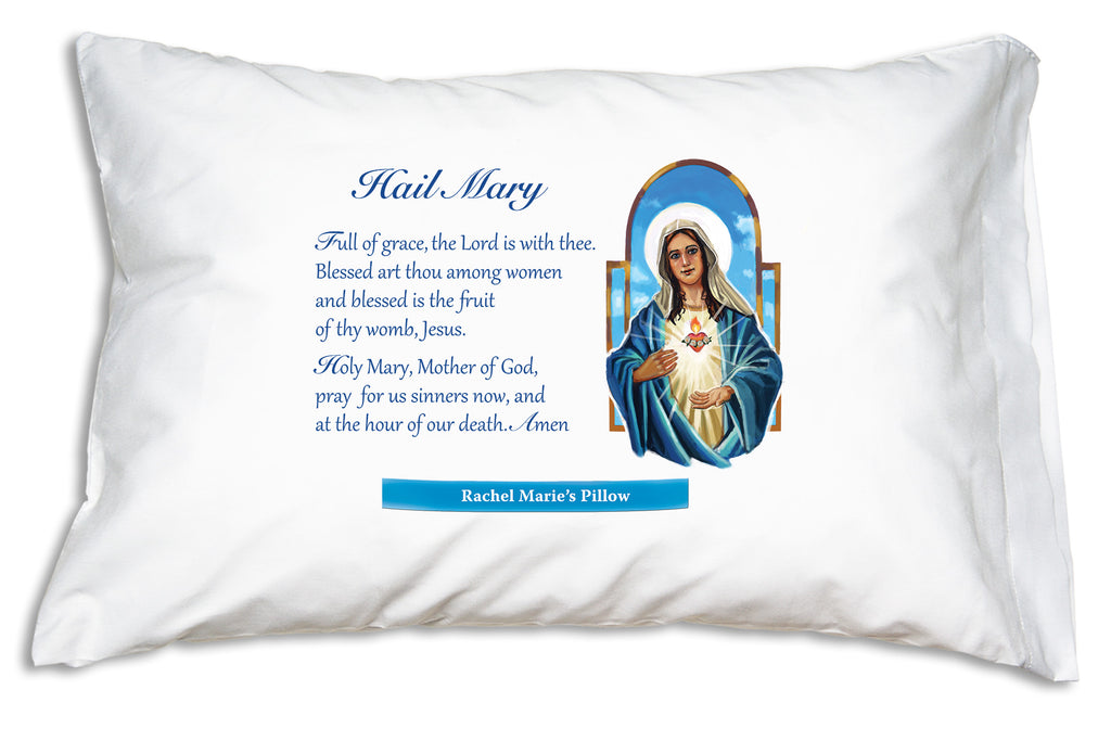 Choose to personalize this Immaculate Heart Marian Prayer Pillowcase design and we'll add the name on a bright banner.