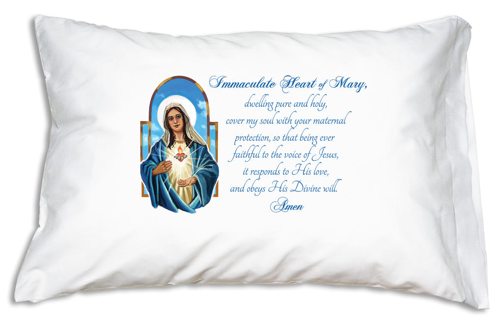 The Immaculate Heart of Mary Prayer Pillowcase is now available in Orgainc Cotton and features this beautiful illustration and loving prayer to Mary the Immaculate Heart.