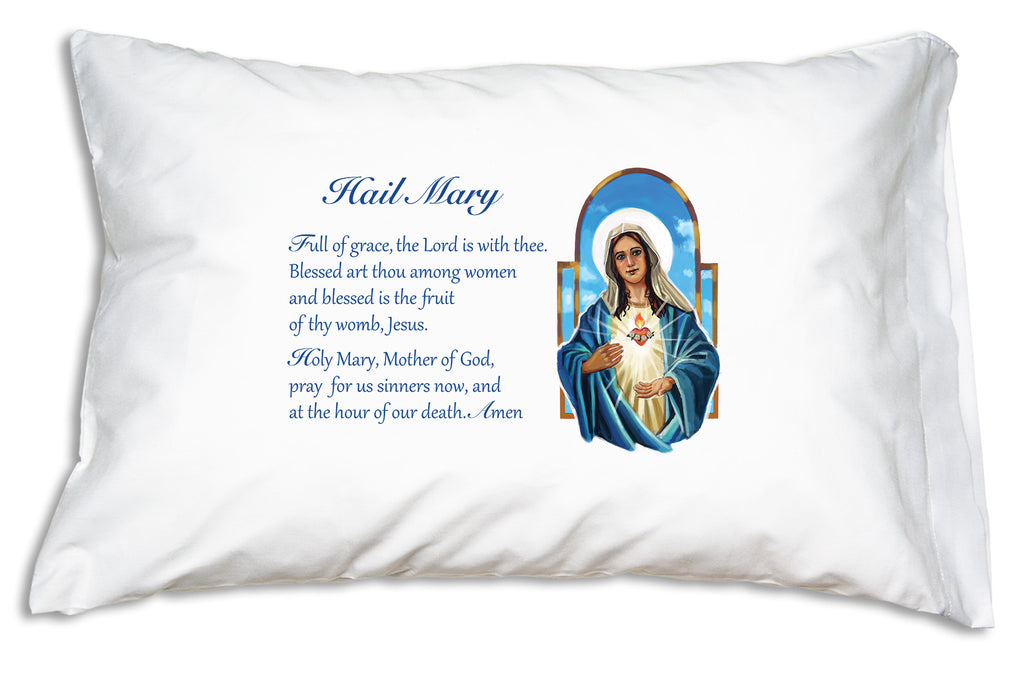 The Immaculate Heart Hail Mary Prayer Pillowcase features a beautiful illustration of Mary.