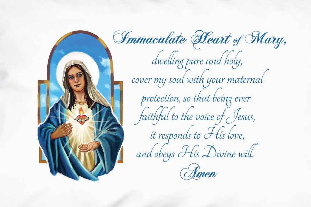 A closeup of our beautiful illustration of The Immaculate Heart of Mary and companion prayer on this Marian design from Prayer Pillowcases.