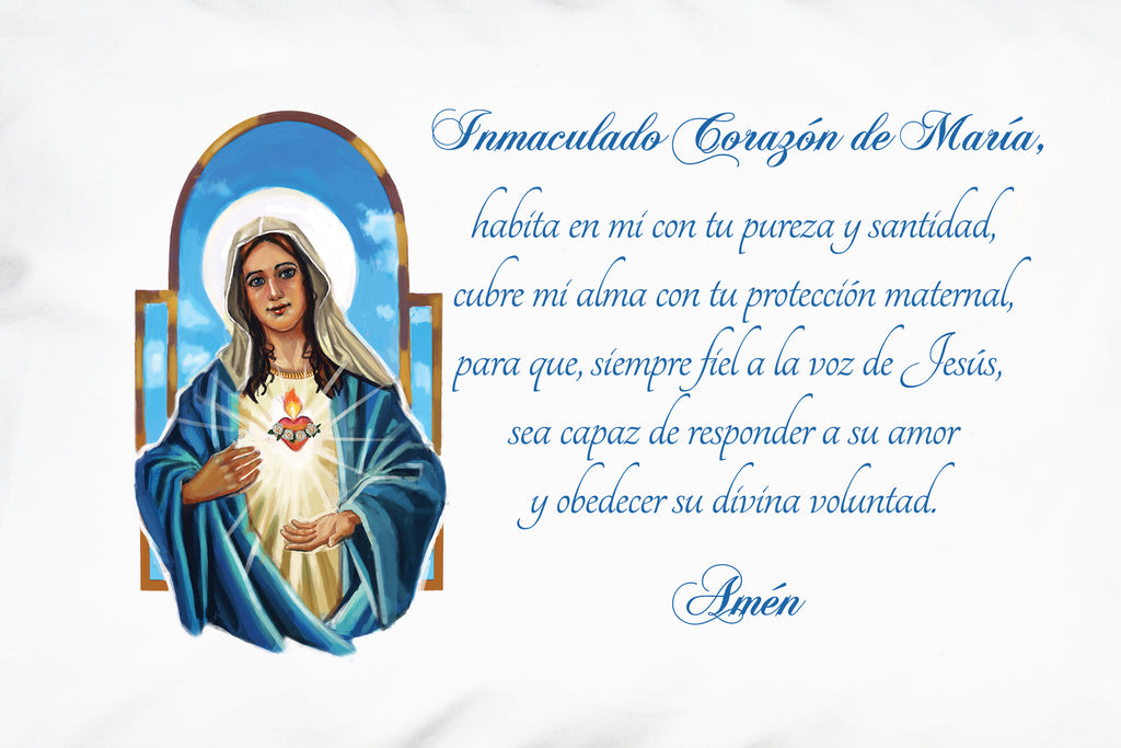See this closeup of Prayer Pillowcases Inmaculado Corazón de María design which featues a beautiful image of the Immaculate Heart.