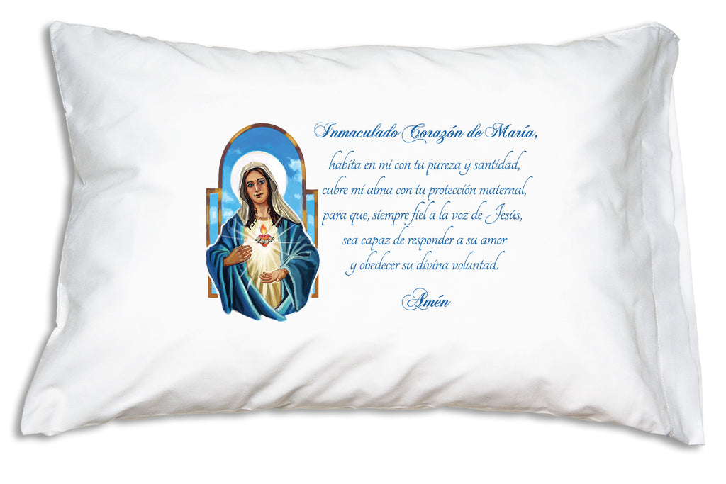 Inmaculado Corazón de María pillow case featues a beautiful image of Our Lady with a loving prayer.