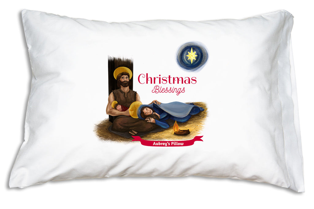 "Cheery script proclaiming ""Christmas Blessings"" complements the beautiful scene on the Christmas Blessings Holy Family Pillowcase."