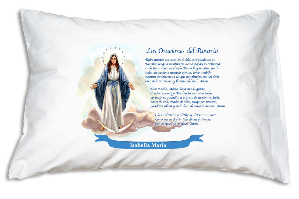 The name goes on a bright banner when you personalize a Las Oraciones del Rosario Prayer Pillowcase.