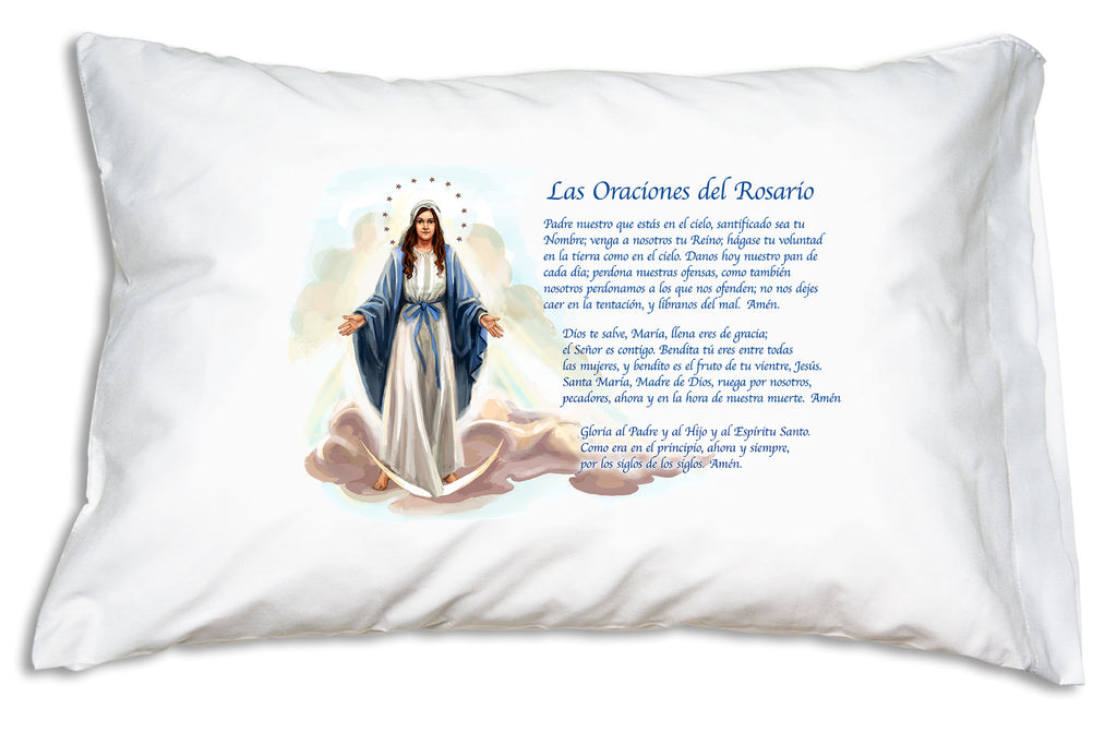 The pretty Las Oraciones del Rosario Marian design from Prayer Pillowcases features a lovely image of Our Lady of Grace and prayers every Catholic needs to know.