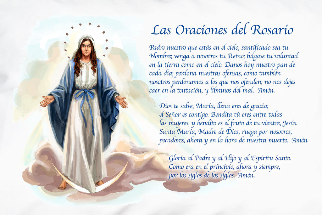 Here's a detail of the lovely Las Oraciones del Rosario (Prayers of the Rosary) pillow case design from Prayer Pillowcases.