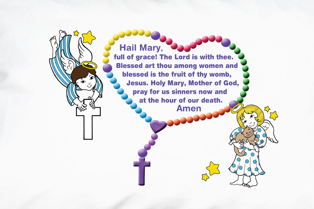 A closeup of the little angels and Hail Mary prayer for children.