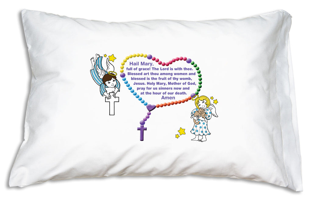 Prayer Pillowcases Little Angels pillow case features the Hail Mary and Our Father prayers.