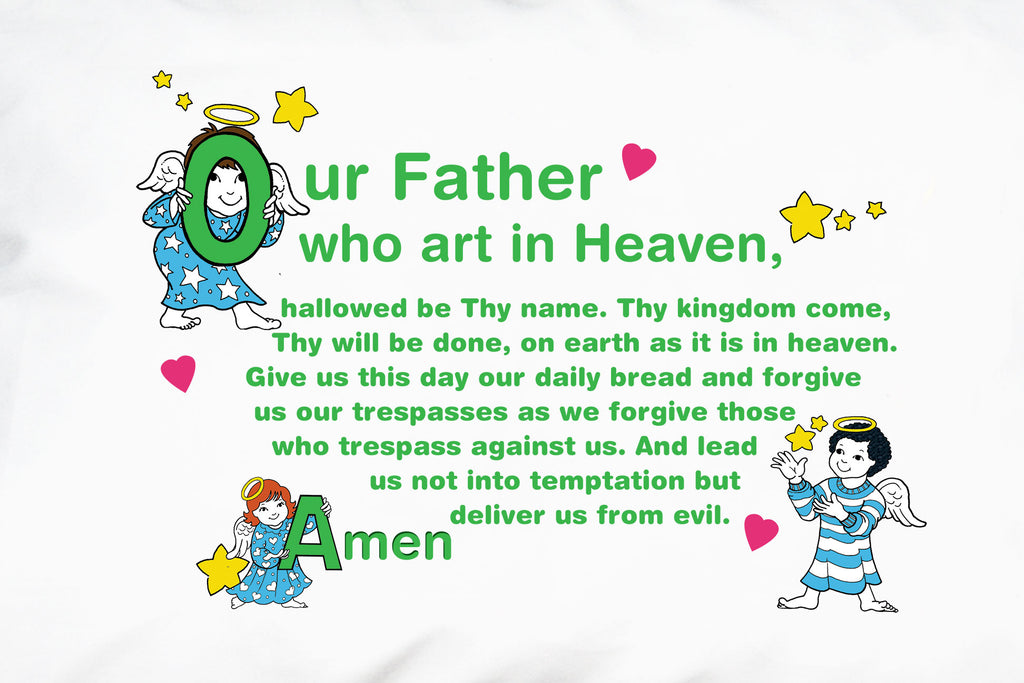 A closeup of the cheery angels and the Our Father prayer for children.
