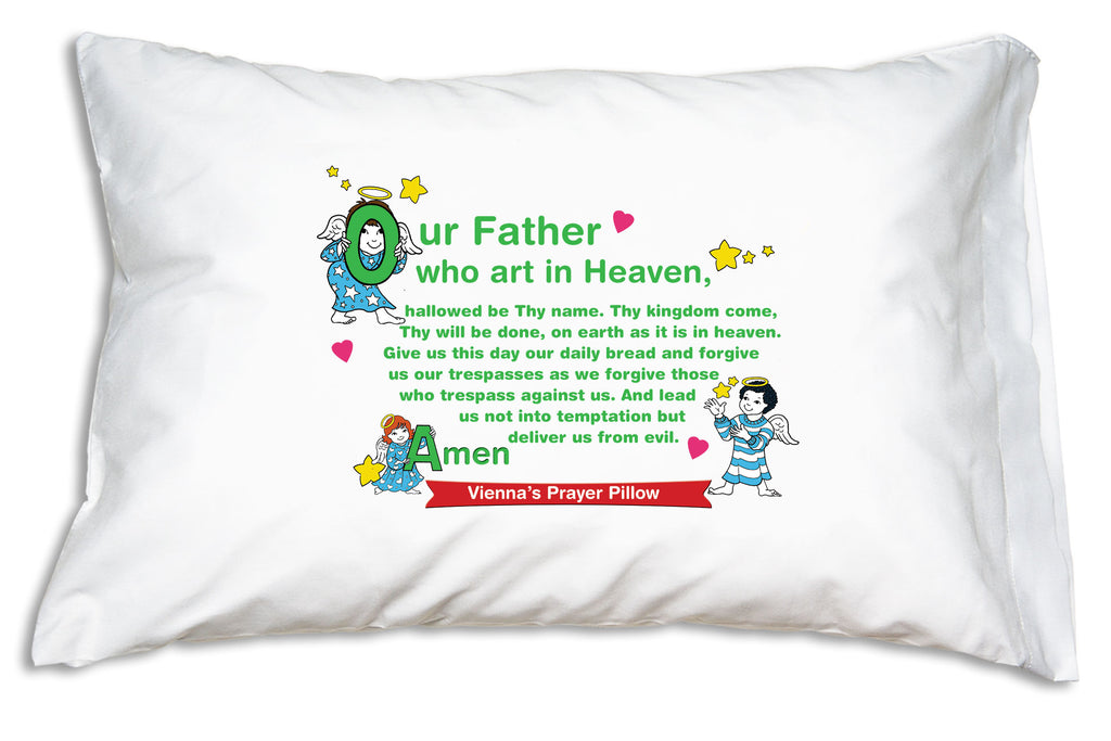 The name goes on a bright banner when you personalize the Little Angels double-sided design from Prayer Pillowcases..