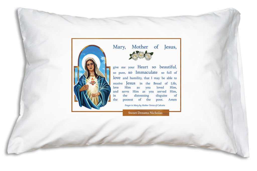 We add the name to a special banner when you personalize this Marian design from Prayer Pillowcases.