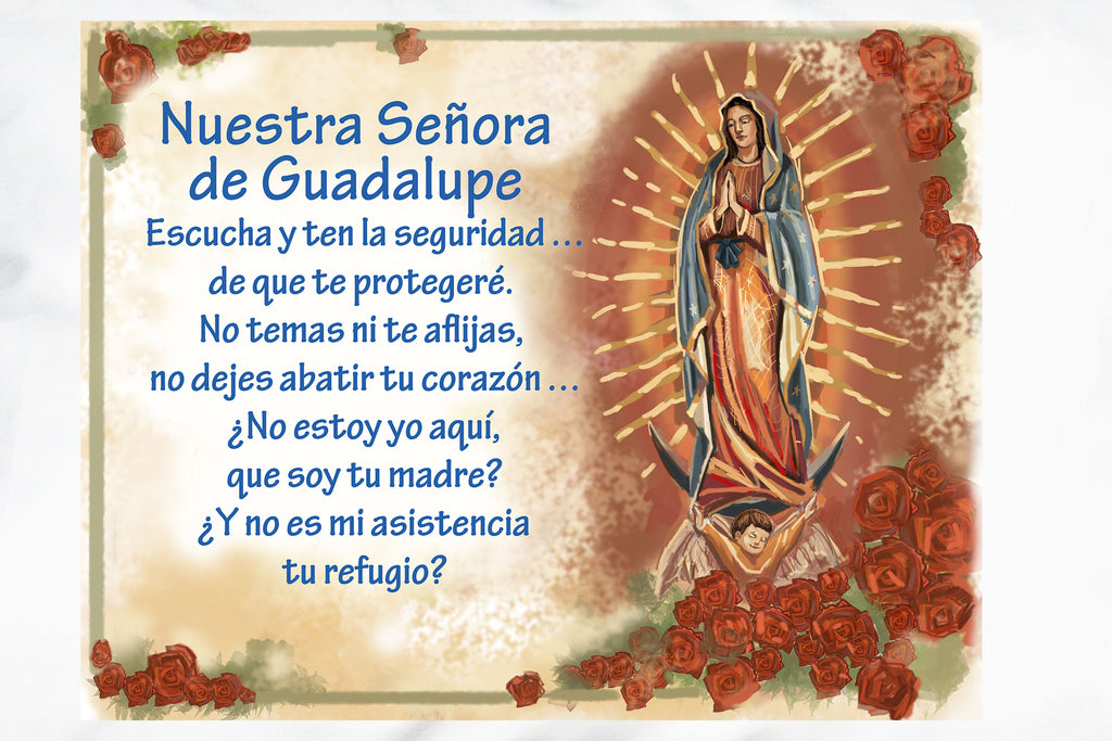 The beautiful Neustra Señora de Guadalupe Prayer Pillowcase makes a special gift of faith. Here's a closeup.