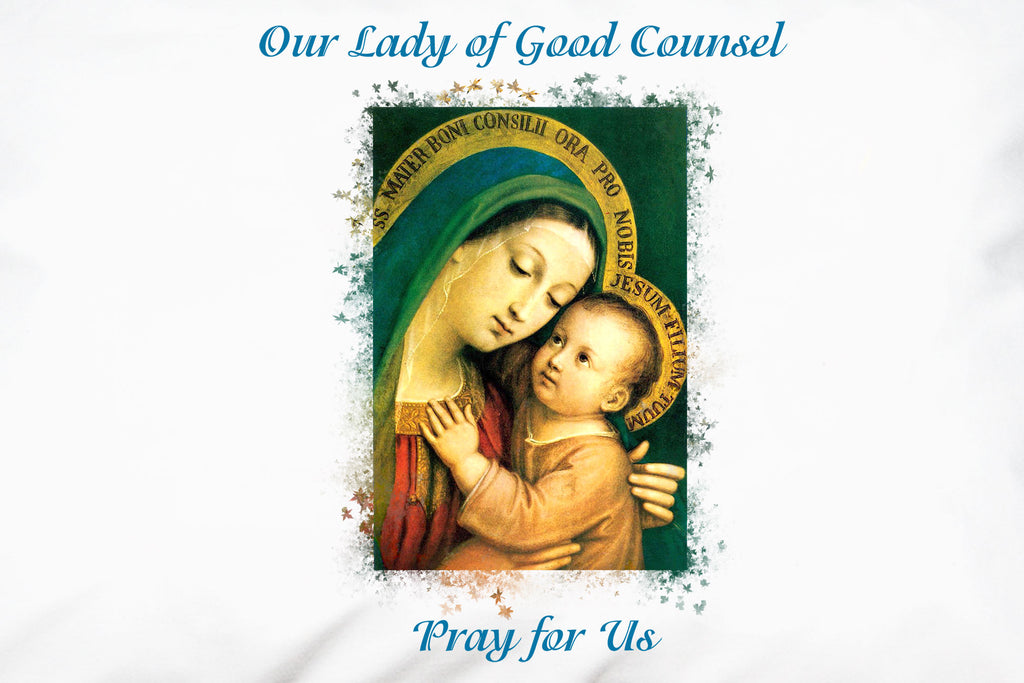 The beloved devotional image of Our Lady of Good Counsel closeup on pillowcase