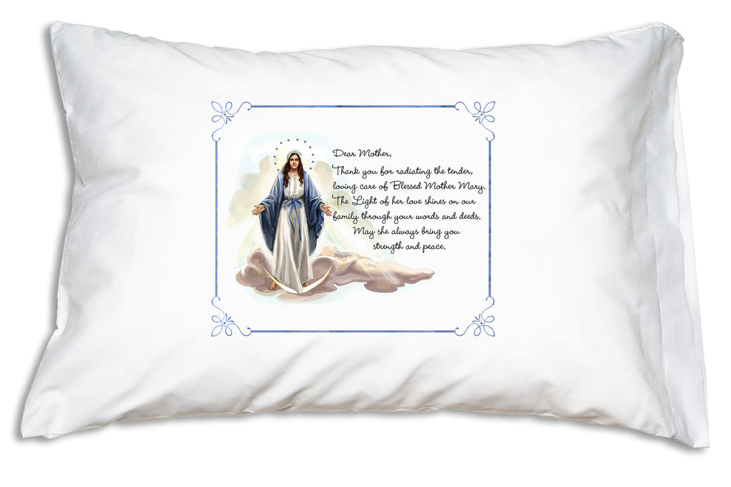 The beautiful image of Our Lady of Grace is paired with a special prayer for Mothers on this Marian Prayer Pillowcase design.