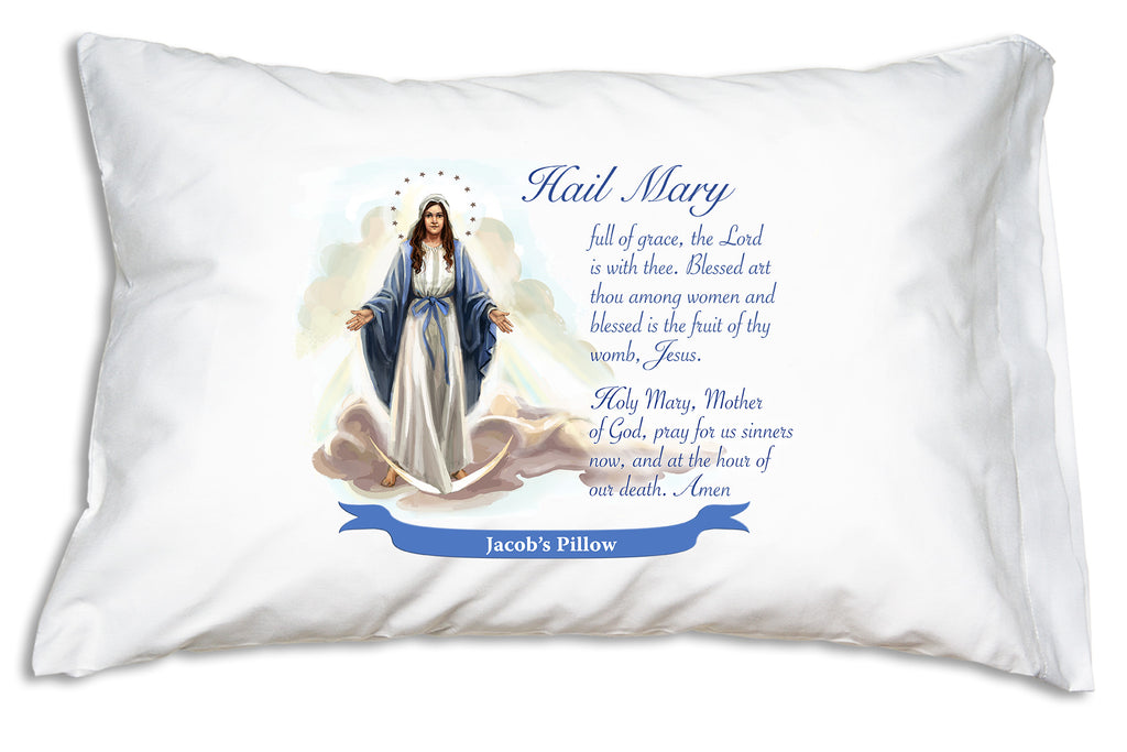 Personalized example of Prayer Pillowcases Our Lady of Grace accompanied with the Hail Mary on a pillow case.
