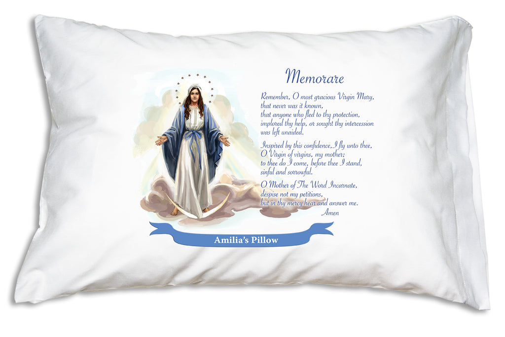 We'll add the name to a festive banner when you personalize the Our Lady of Grace: Memorare Prayer Pillowcase.