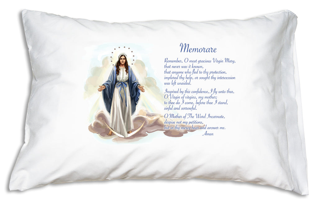 This Marian Prayer Pillowcase features our inviting original illustration of Mary as Our Lady of Grace alongside the Memorare prayer.