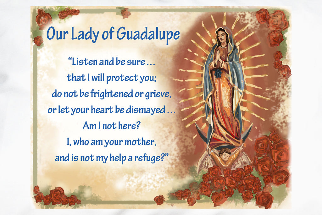 A shower of roses is the backdrop for this beautiful devotional Our Lady of Guadalupe Prayer Pillowcase.