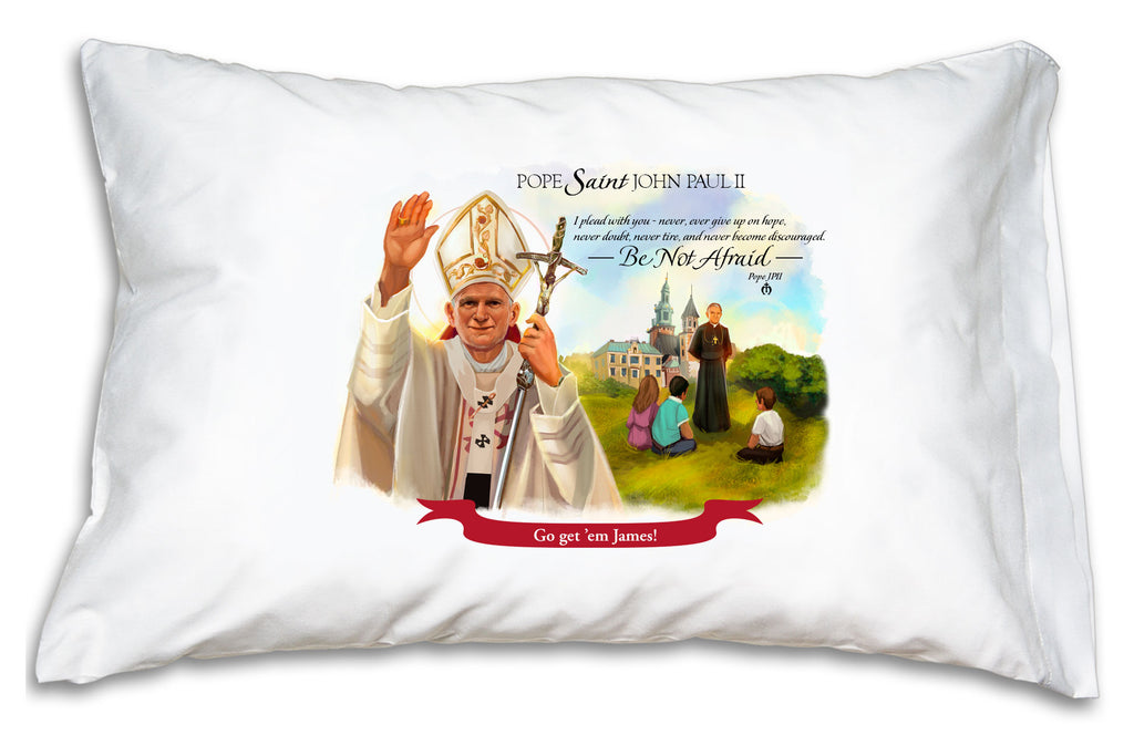 When you personalize the PJPII pillow case we'll add the name to a festive banner like this.