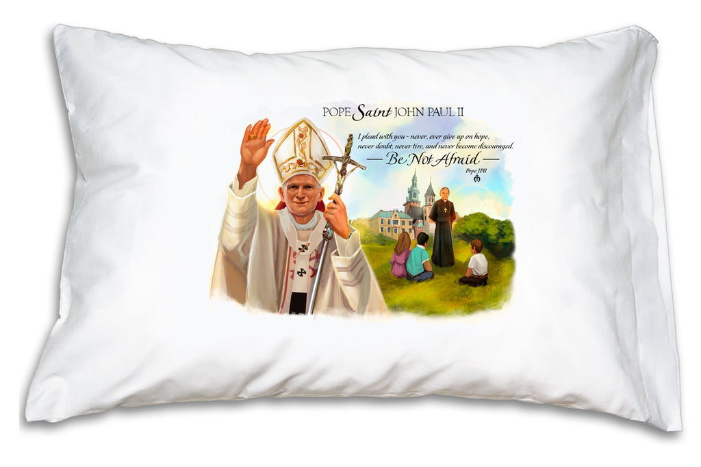 "This Pope Saint John Paul II Prayer Pillowcase features a serene portrait and encouraging words from the ""Pope of the Family."""