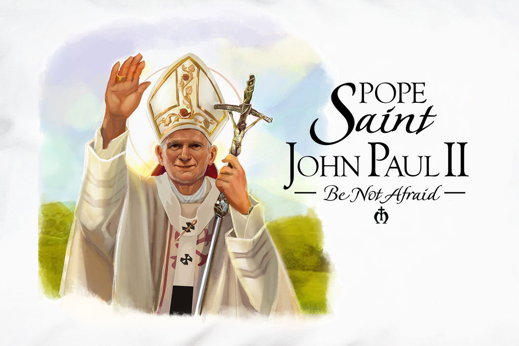 Here's closeup of the awesome original illustration on the Pope Saint John Paul II Prayer Pillowcase.