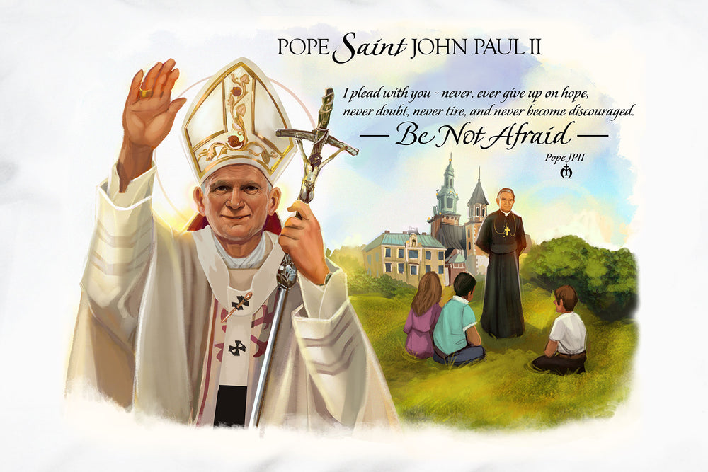 This closeup shows the unique portrait and encourging words of beloved Pope Saint John Paul II.