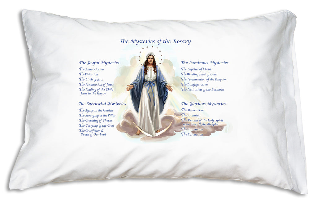Prayer Pillowcases Our Lady of Grace: Rosary Mysteries design features the Joyful, Glorious, Sorrowful and Luminous Mysteries encircling this pretty devotional illustration of Our Lady of Grace.