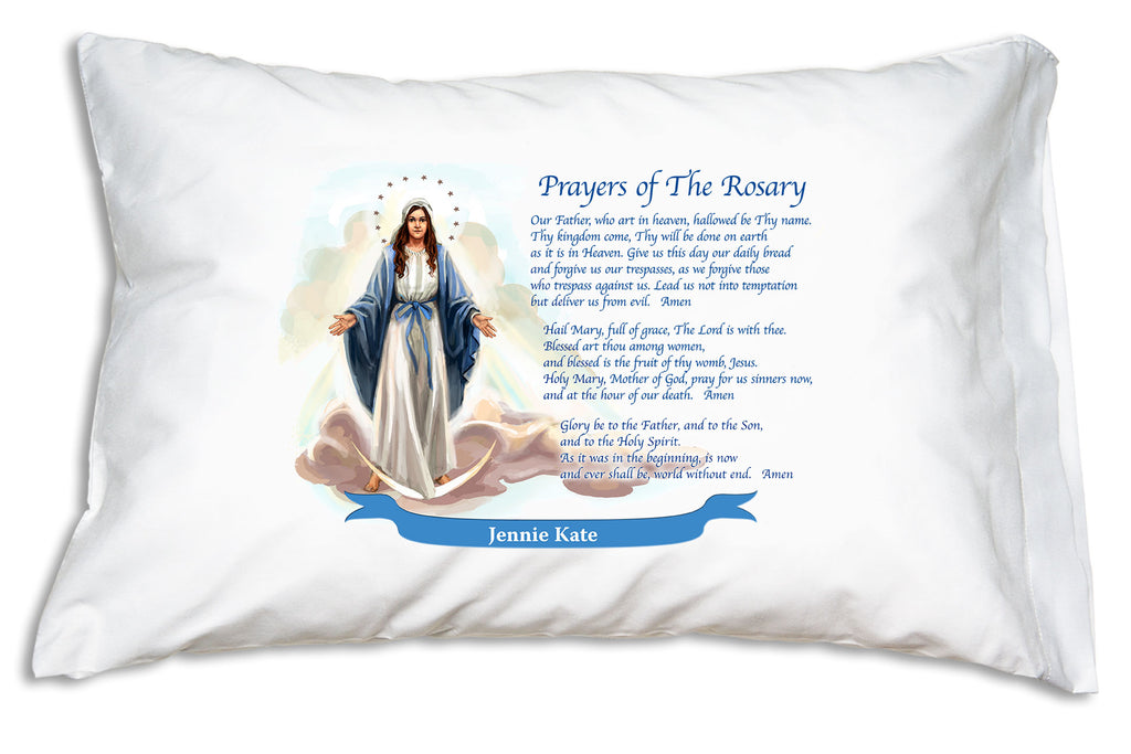 Here's how we'll add the name to a festive banner when you personalize the Our Lady of Grace: Rosary Prayers Prayer Pillowcase.