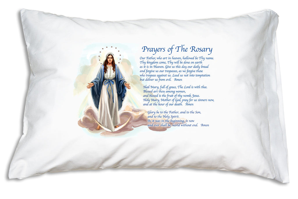 The Our Father, the Hail Mary, and the Glory Be are essential Catholic prayers featured on the Our Lady of Grace: Rosary Prayers Prayer Pillowcase.