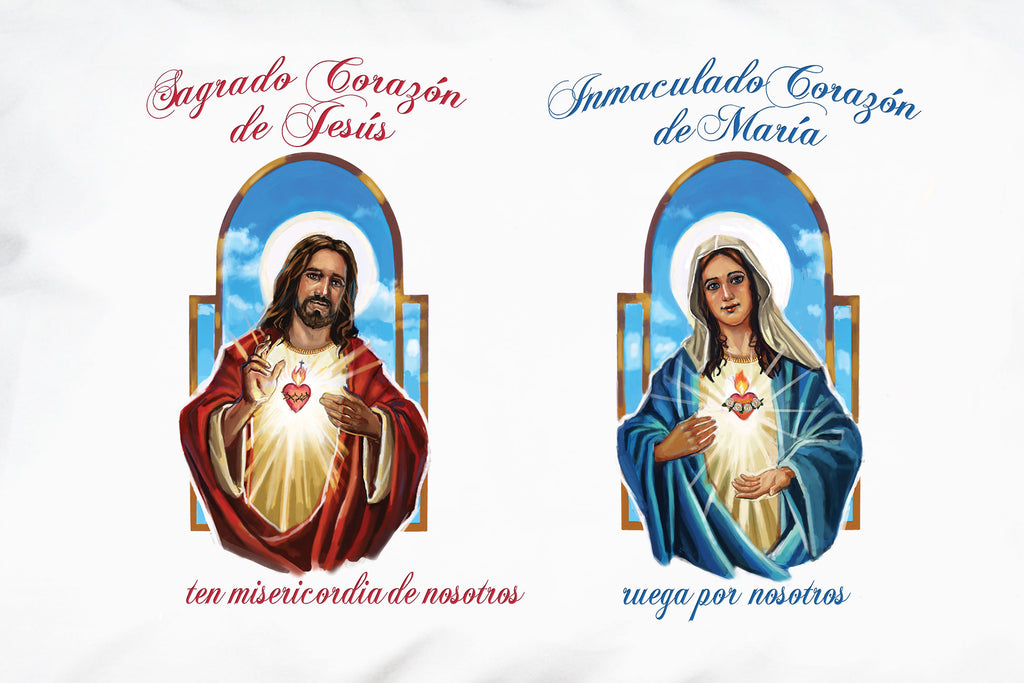 A closeup of Prayer Pillowcases Sagrado Corazón (Sacred Heart) and Inmaculado Corazón (Immaculate Heart) Spanish pillow case