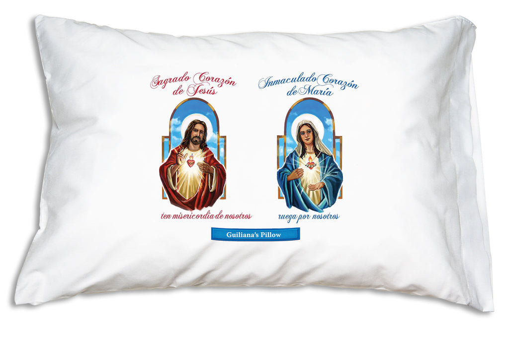 You can personalize Prayer Pillowcases Sagrado Corazón (Sacred Heart) and Inmaculado Corazón (Immaculate Heart) pillow case like this