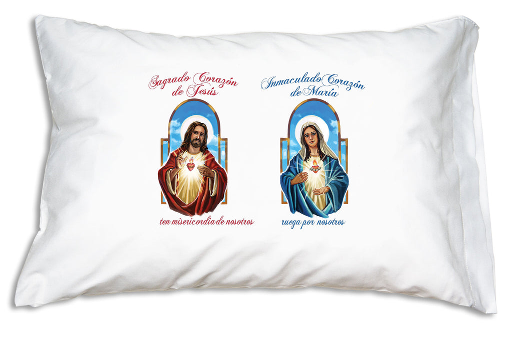 The Sagrado Corazón de Jesús (Jesus and His Sacred Heart) and the Inmaculado Corazón de María (Immaculate Heart of Mary) Prayer Pillowcase