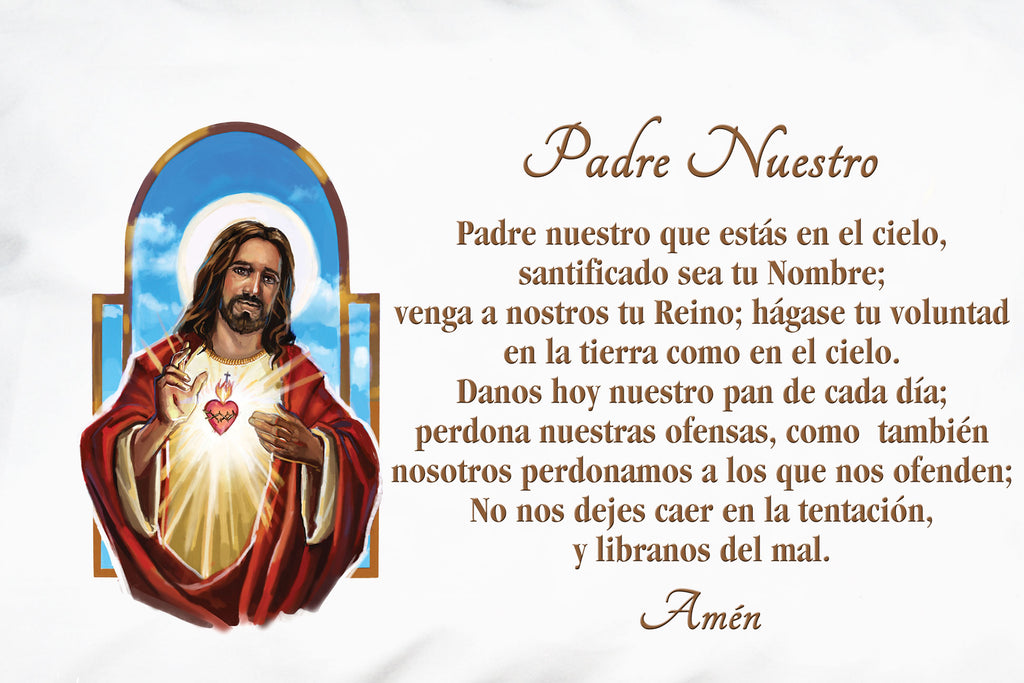 Here is a closeup of the Spanish Prayer Pillowcase Sagrado Corazón de Jesús: Padre Nuestro.