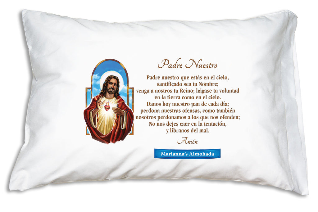 When you personalize the Sagrado Corazón de Jesús Prayer Pillowcase we'll add the name to a festive banner like this.