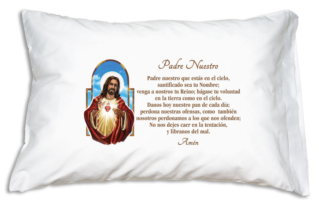 The Sagrado Corazón de Jesús Padre Nuestro Prayer Pillowcase features The Padre Nuestro (Our Father)alongside a pretty image of el Sagrado Corazón de Jesús.